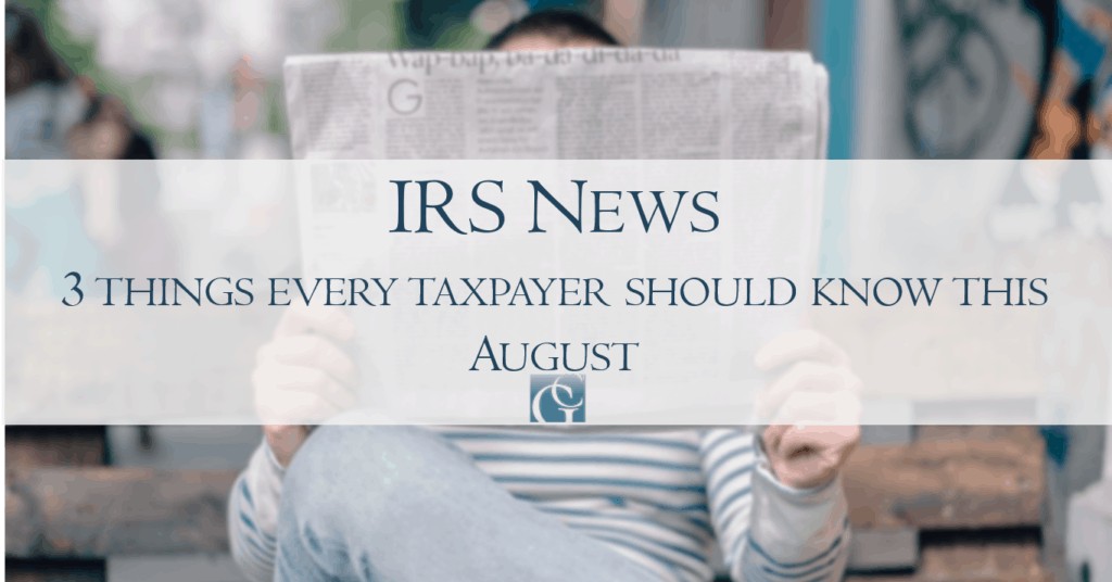 IRS news August 2019